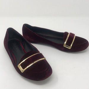 Rachel Zoe velvet burgundy loafers